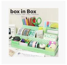 New Arrival Creative Folding DIY Paper Board Storage Green Box Desk Decor Stationery Cosmetic Box Makeup Finishing Organizer Box