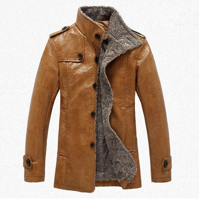 PU Leather Jacket Men Winter Jackets and Coats Thickening Wool Windbreak Waterproof Warm Trench Coat motorcycle Jaqueta de couro