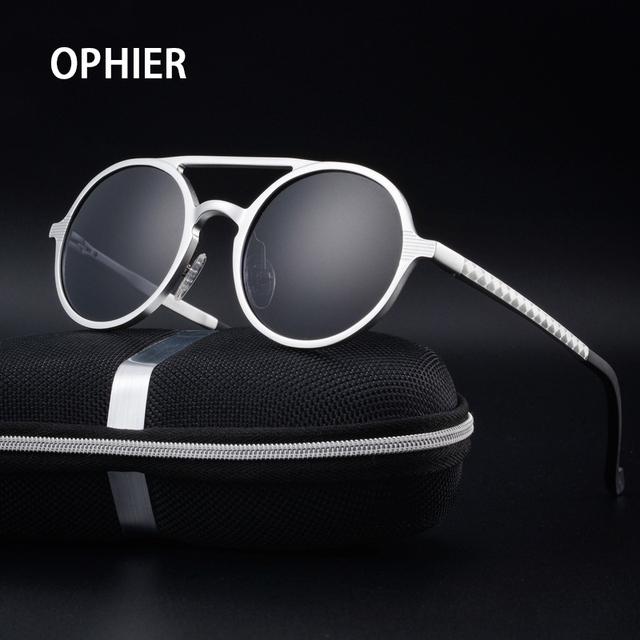 OPHIER Marca de Luxo Designer de Óculos De Sol Dos Homens de Alumínio E Magnésio Óculos Polarizados Espelho de Condução Masculino Óculos De Sol Redondos óculos de Sol Oculos