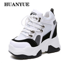 Spring Women Platform High Heels Autumn Shoes Mesh Wedge Sneakers Top Height Increasing 9 CM Thick Sole Pumps