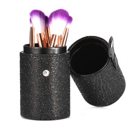High Grade Balck PU Leather Makeup Brushes Pen Holder Case Empty Storage Tube Case For Makeup