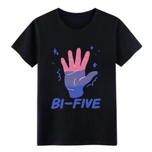 Men's Bi Five High Five Bisexual LGBT Rainbow Pride Tee t shirt Designing cotton O Neck Trend Interesting fashion cool shirt(China)