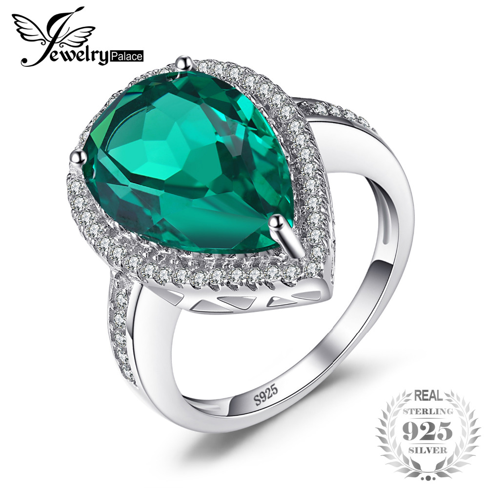 JewelryPalace Luxury Pear 4.9ct Created Emerald 100% Real 925 Sterling Silver Engagement Rings For Women 2017 Brand Fine Jewelry
