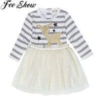 12M 6Y FEESHOW Cute Toddler Girls Mesh Striped Long Sleeves Shiny Cartoon Fawn Stars Pattern Birthday