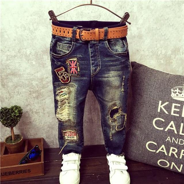 2016 Новая мода мальчики джинсы Детские повседневные брюки дети брюки Розничные 2-6 лет мальчики джинсы детская одежда горячие продажи