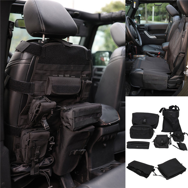 9pcs Front Seat Cover Roll Cage Bag Saddlebag For JEEP Wrangler Multi Pockets Storage