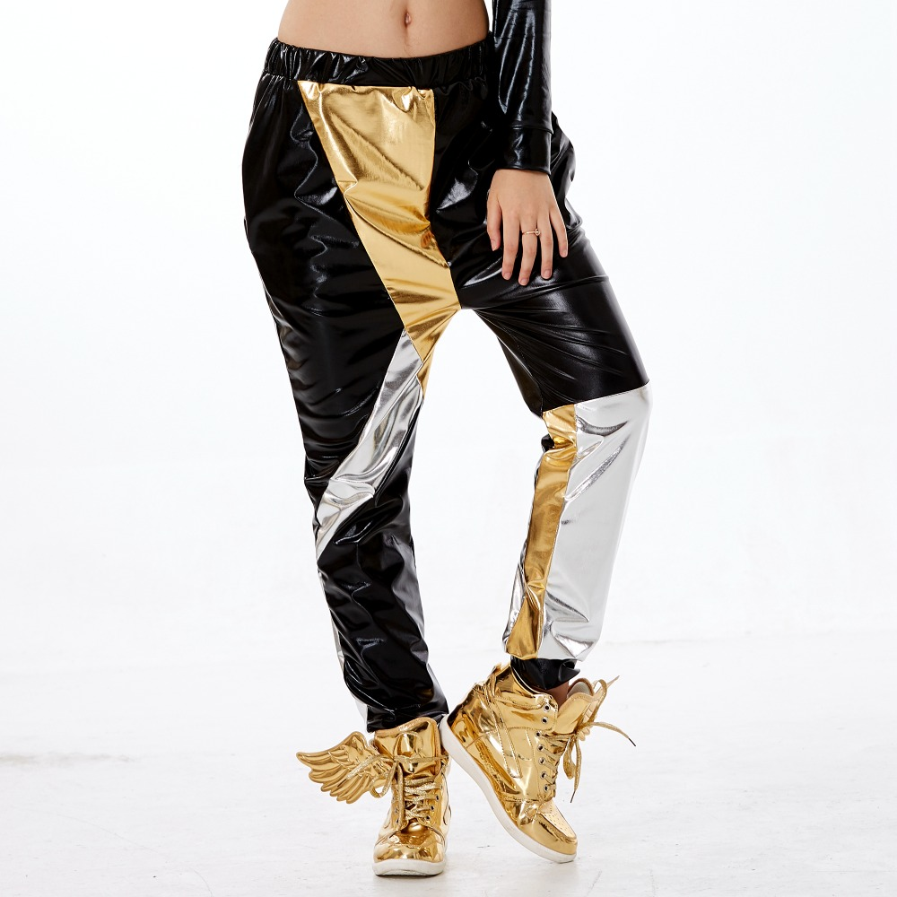 New Fashion Kids Adults Harem Hip Hop Dance Pants Sweatpants Costumes Female Stage Performance Wear Jazz Patchwork Trousers