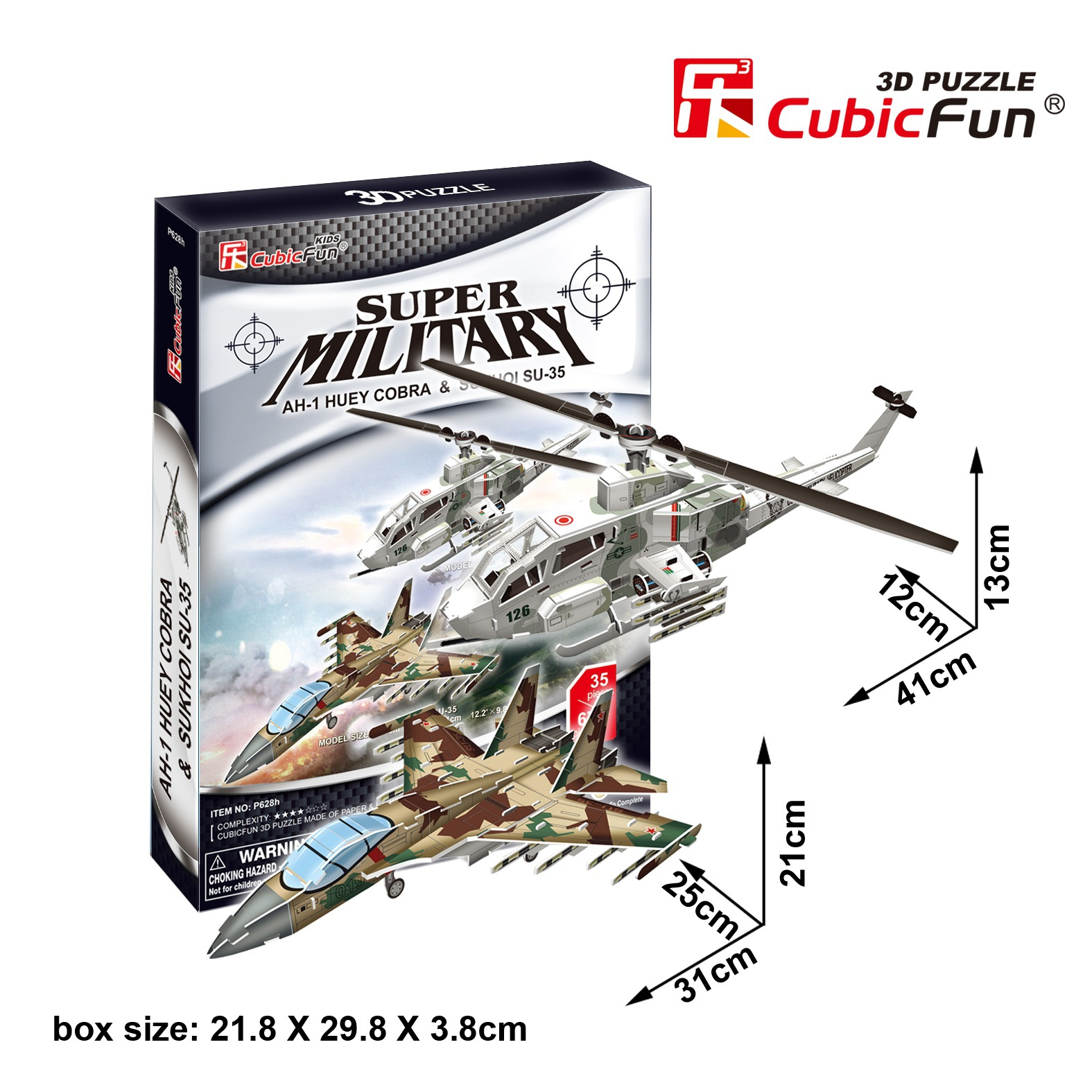 Candice guo toy birthday gift 3D paper puzzle assemble building model game stereomodel P628H cobra helicopter fighter 2pcs/set