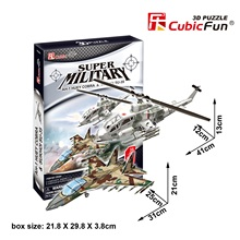 Candice guo toy birthday gift 3D paper puzzle assemble building model game stereomodel P628H cobra helicopter