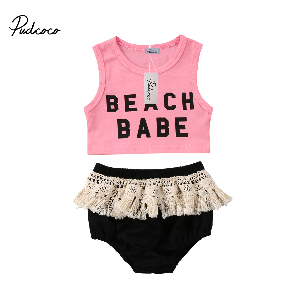 2Pcs Newborn Outfits Summer Cute Kids Baby Girls Crop Top Letter T-shirt Infant Baby Girl Tassels Shorts Clothes Set summer 2017 leopard baby girl clothes newborn infant baby girls romper bodysuit headband 2pcs outfits toddler kids clothing set