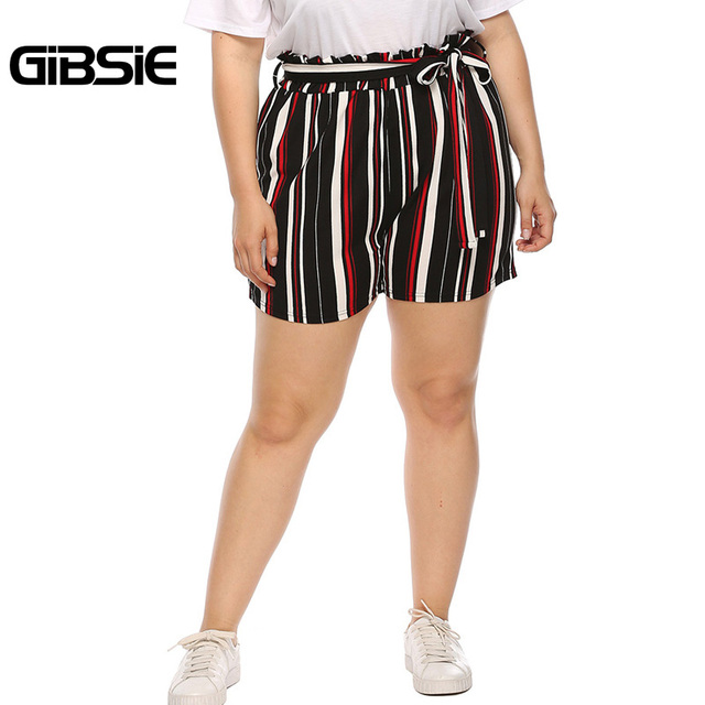 GIBSIE Plus Size New Fashion Bow Striped Shorts Women's Summer High Waist Shorts 2019 Female Casual Straight Shorts with Belt 5