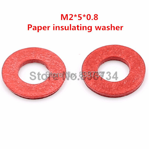1000pcs m2*5*0.8  insulating red flat paper washer for computer accessories