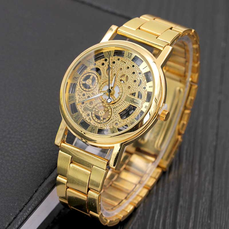 Luxurious Fashion Wristwatch Rome Digital Alloy Strap Clock Hollow Clairvoyant Watches Men And Women Casual Quartz Watch LX