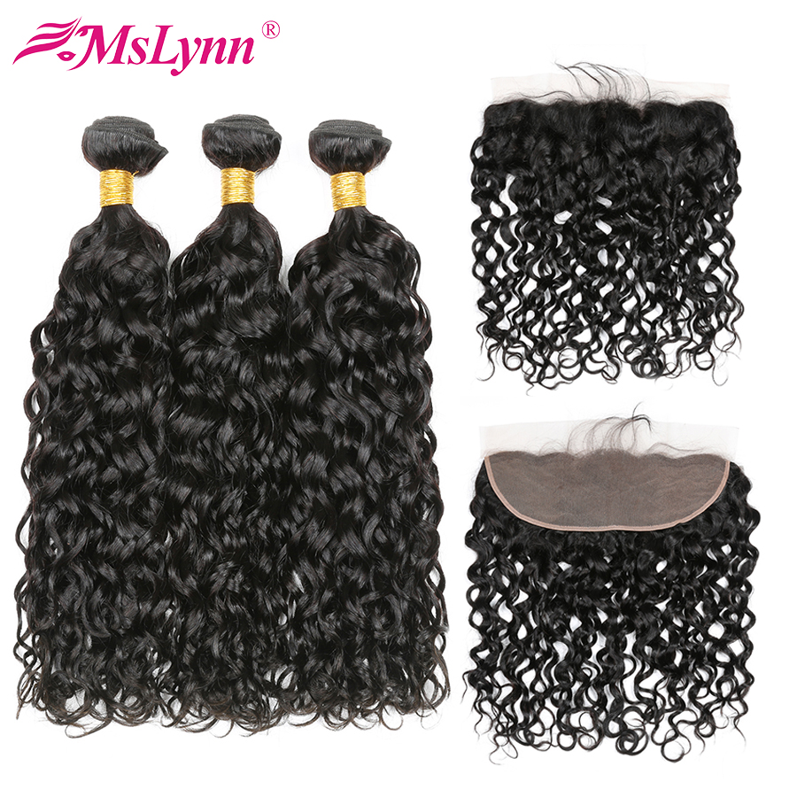 Mslynn Hair Water Wave Bundles With Frontal Peruvian Human Hair Bundles With Closure Ear ...