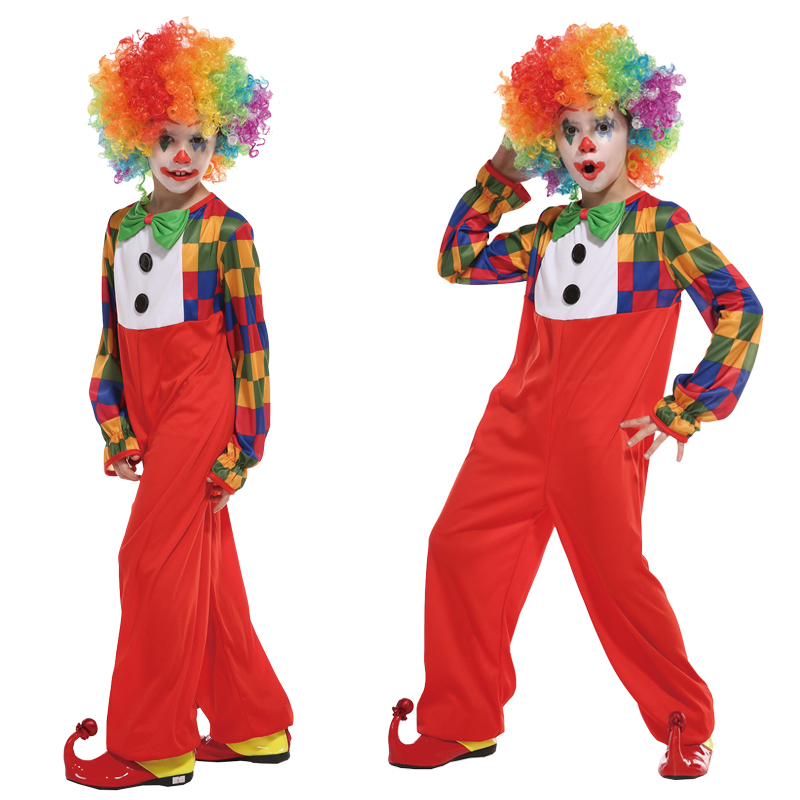 HOT!Halloween Children Boy Colorful Clown Cosplay Costume Funny Magician Performance Costumes Dress up Party Supplies Purim