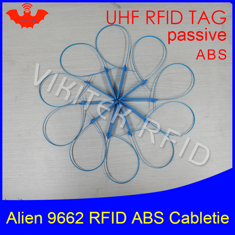 RFID tag UHF ABS cable tie Alien 9662 EPC6C 915mhz 868m 860-960MHZ Higgs3 92*28*3.5mm long distance smart card passive RFID tags 1000pcs long range rfid plastic seal tag alien h3 used for waste bin management and gas jar management