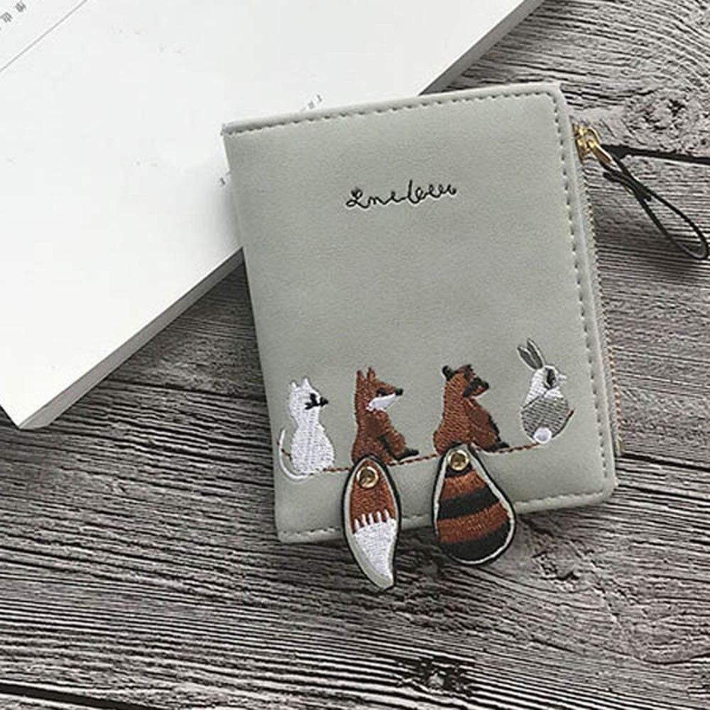 Высококачественный Женский кошелек с милыми мультяшными животными, короткий кожаный женский маленький кошелек для монет, кошелек на молнии, держатель для карт для девочек