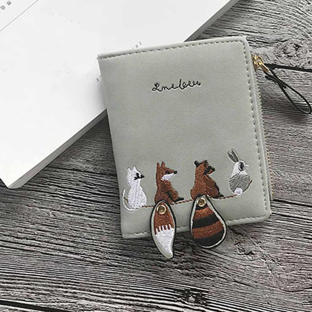 גבוהה באיכות נשים של ארנק יפה חיות מצוירות קצר עור נשי קטן מטבע ארנק וו רוכסן ארנק כרטיס מחזיק עבור בנות
