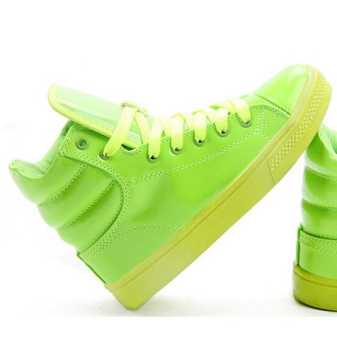 MIUBU New Arrival Lighted Candy Color High-top Shoes Men Unisex Fashion Shoes Flat Platform Shoes Couple Shoes Lahore