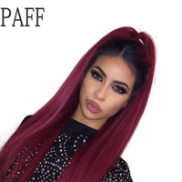 PAFF Silky Straight Lace Front Wig Brazilian Remy Hair 1B T 99j Ombre Color Free Part Human Hair Wig With Baby Hair and Hairline