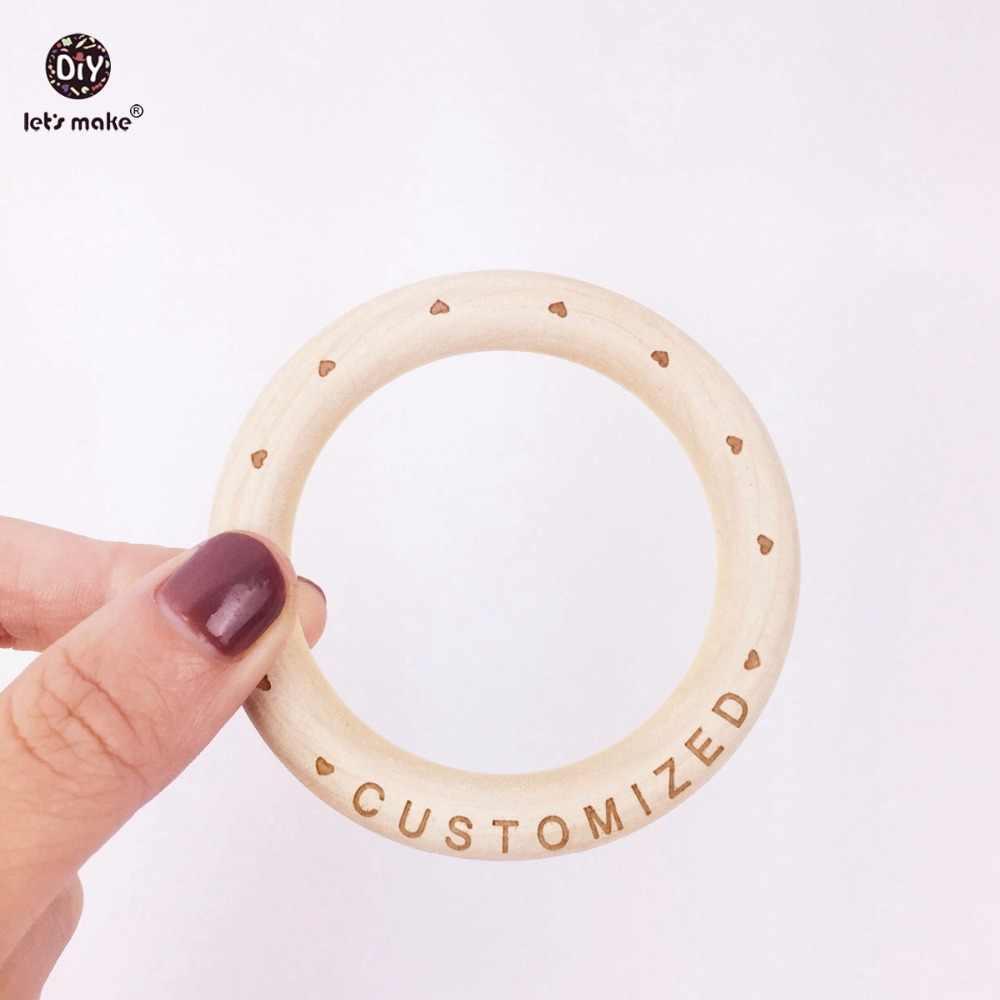Let's Make เด็กแหวนไม้ 70mm ไม้ 20PCS ที่กำหนดเองไม้ Teether เมเปิลธรรมชาติสร้อยข้อมือเด็ก Teether สำหรับทารก