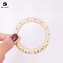 Lets Make Baby Wooden Ring 70mm Wooden Bracelet 20PCS Customized Wood Teether Natural Maple Baby Bracelet Teether for Baby