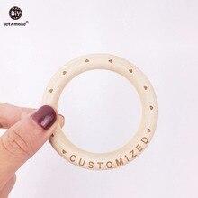 Zróbmy dziecko drewniany pierścień 70mm drewniana bransoletka 20 sztuk drewno niestandardowe gryzak klon naturalny bransoletka dla niemowląt dla dziecka