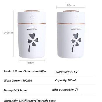 USB Aroma Diffusore 280 Ml Ultrasuoni Nebbia Fredda Umidificatore Con Hallow Clover 7 Luce Di Colore Per Auto Home Office Purificatore D'aria