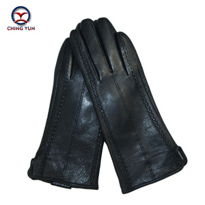 Image 3 - 2017 New Black Thicken Bow Leather Gloves Women Genuine Leather Gloves Winter Autumn Ladies Fashion Brand Warm Leather fv04