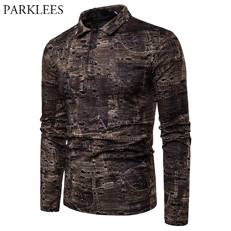 Mens Ripped Holes   Polo   Shirt Retro Plus Size Long Sleeve Male Coffee Print   Polos   Shirts Hipster Hip Hop Rap Swag   Polo   Hombre XXL