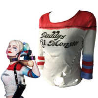 Suicide Squad Sexy T-shirt Cosplay Harley Quinn Costume di Carnevale di Halloween Magliette Costumi Sexy