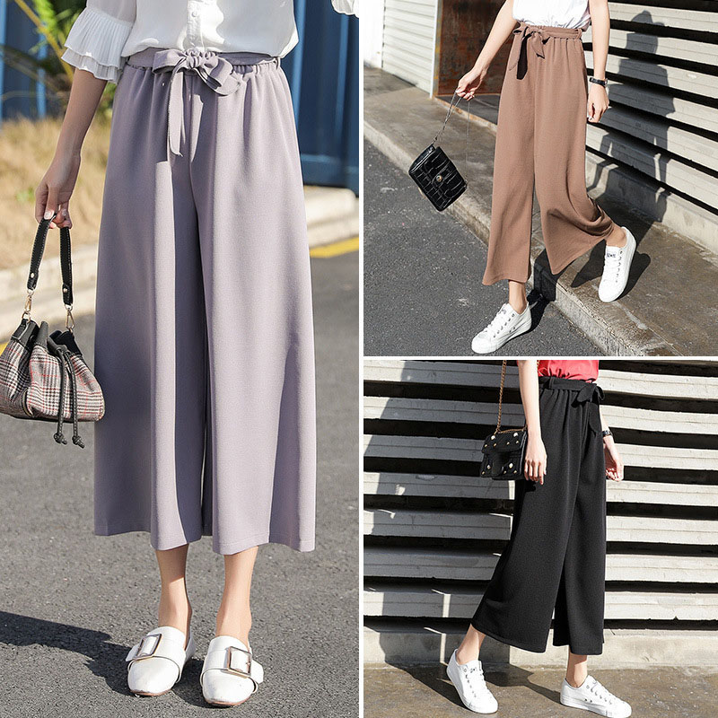 2019 Fashion Summer   Wide     Leg     Pants   Women High Waist Solid Loose Palazzo   Pants   Elegant Office Ladies Trousers Black Gray