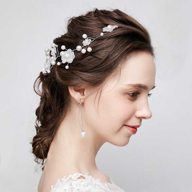 2020 西洋の結婚式ファッション花嫁ため手作り結婚式の王冠花パールヘアアクセサリーヘアピン装飾