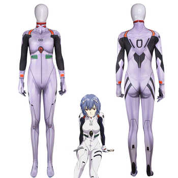 Anime Ayanami Rei Jumpsuits Cosplay Costume Neon Genesis Evangelion Unisex One Piece Fullbody Zentai Lycra Long Sleeve Bodysuit - DISCOUNT ITEM  30% OFF All Category