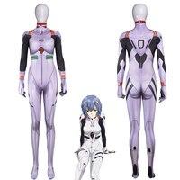 Anime Ayanami Rei Jumpsuits Cosplay Costume Neon Genesis Evangelion Unisex One Piece Fullbody Zentai Lycra Long Sleeve Bodysuit