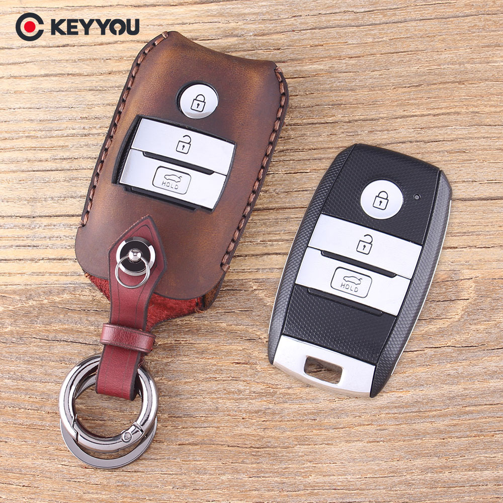 KEYYOU Remote Key Shell Case Fob 3 Buttons Genuine Leather Protector Key Cover For Kia K3 K4 K5 Sorento Sportage Car Key C top layer leathe key case key bag key cover for kia ceed sorento cerato k3 k3s k4 k5 kx3 sportage kx5 3 buttons remote control