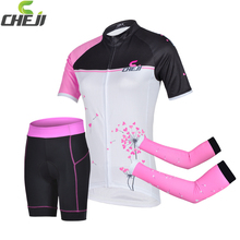 Promotion 2016 Cheji Cycling Jerseys Short Set Women Pink Bike Clothes Sets Pro Bicycle Clothing Arm Warmer Sport Group Sets