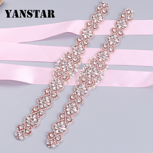 YANSTAR (30pcs) Wholesale Hand Bridal Rhinestones Appliques Clear Rose Gold Silver Crystal Sew On Wedding Dress Belt