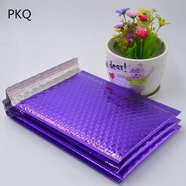20 sztuk 2 rozmiar jasny fiolet poli Bubble Mailing Mailer wysyłka wyściełana koperta torby czarny kolor odporny na wstrząsy kurier koperta bąbelkowa