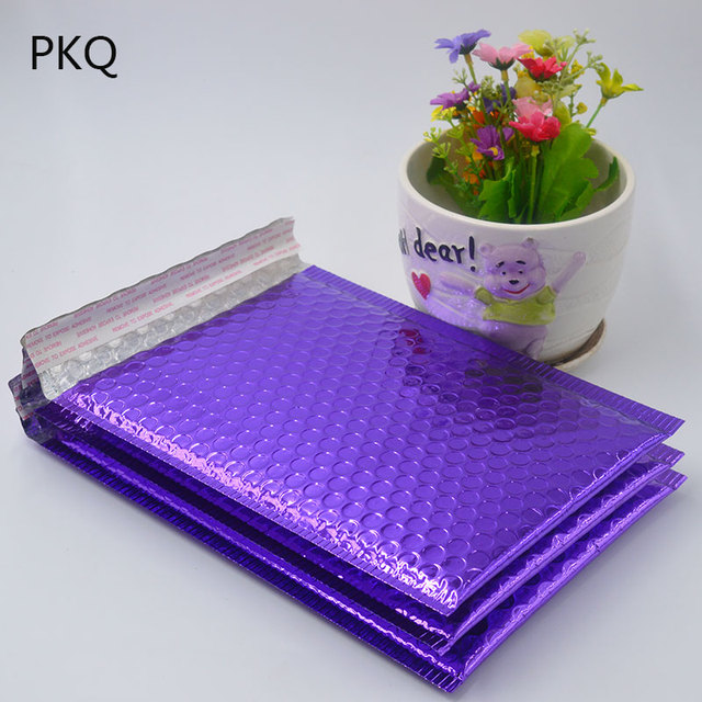 20pcs 2 Size Bright Purple Poly Bubble Mailing Mailer Shipping Padded Envelope Bags Black Color Shockproof Courier Bubble mailer