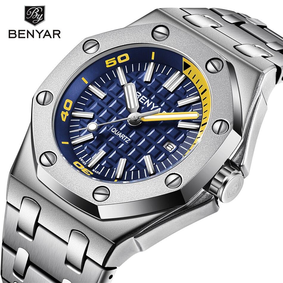 New BENYAR 2019 Fashion Men Watches Male 2019 Top Brand Luxury Quartz Watch Men Casual Waterproof Sports WristWatch