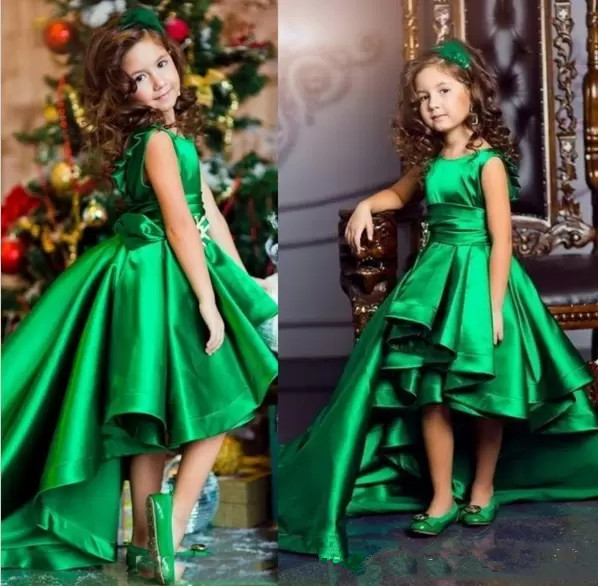 Emerald Green   Girls   Pageant   Dresses   High Low Tiered Prieces   Flower     Girls     Dresses   For Weddings Lovely Kids 2019 Communion Gown
