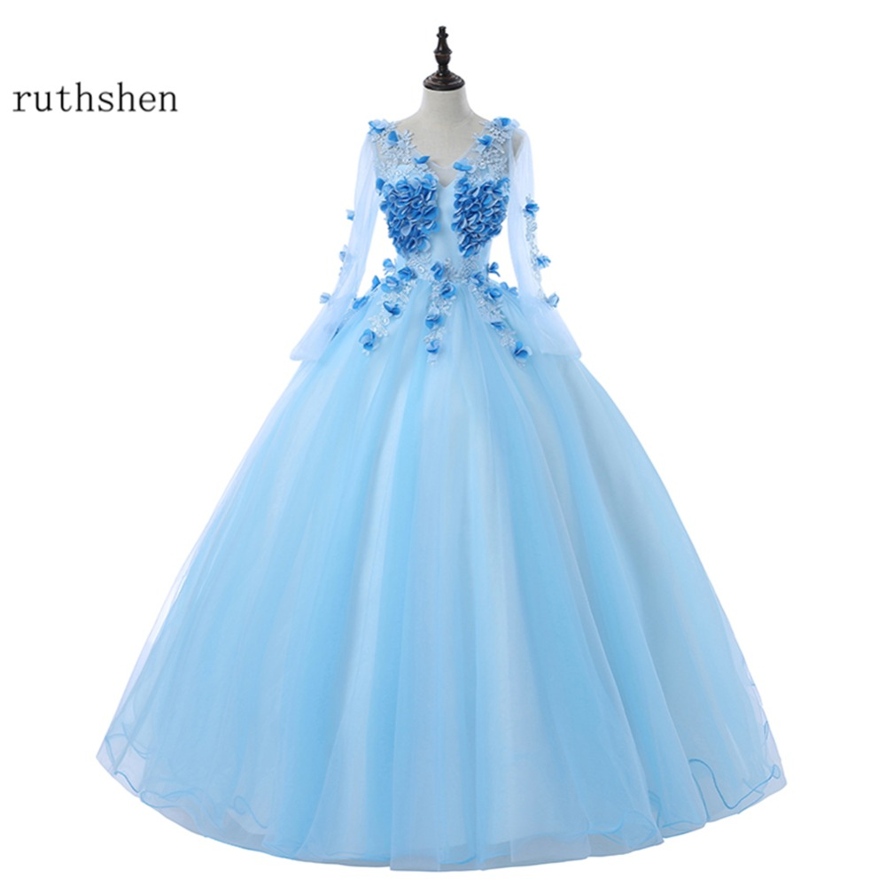 ruthshen Long Sleeves   Prom     Dresses   2018 New Cheap Flowers Ball Gowns Evening Gown Real Photo Formal Vestido De Festa