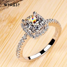 Luxury 2 Carat Yellow CZ Diamant Weddings Rings For Women Bride Real 925 Sterling Silver Fashion Simulated Diamant Jewelry Ring