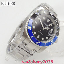 40mm Bliger black dial ceramic Bezel Auto Watch luminous Hand Sapphire Crystal Deployment clasp Automatic Mechanical Men's Watch