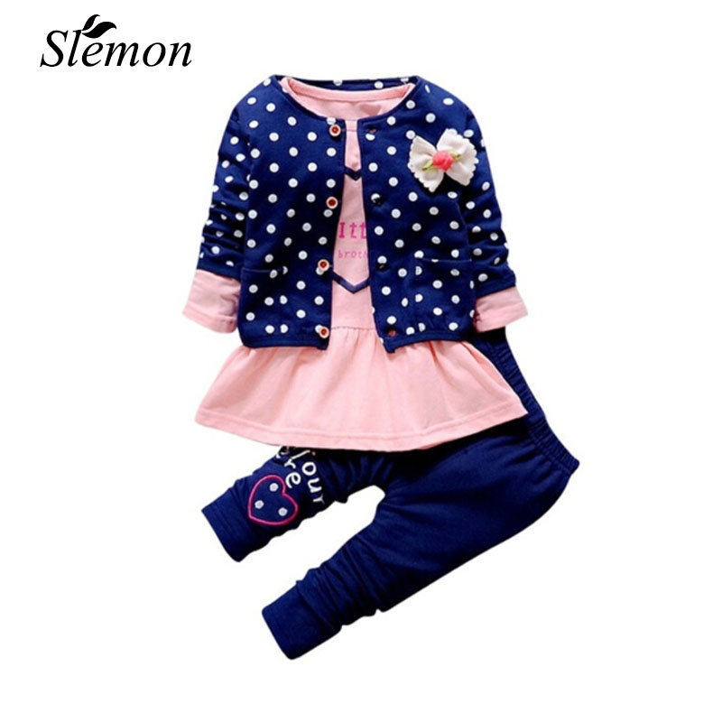 2018 New Spring Baby Girl Clothes Sets Kids 3Pcs Long Sleeve Coat+T-shirt+Pants Children Cute Polka Dot Bow Toddler Girls Outfit