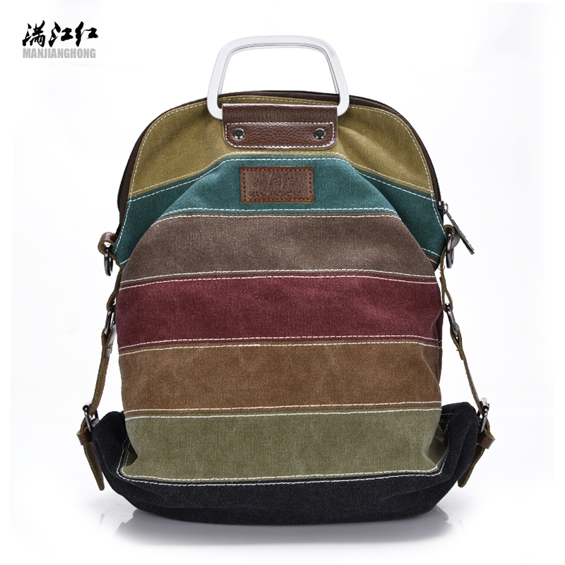 Manjianghong fashion high quality patchwork rainbow color block women canvas backpack rucksack Multifunction girls crossbody bag