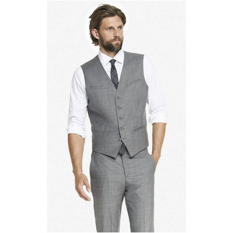 49 Light Grey 2017 Cheap Mens Waistcoat Formal Business Mens Vests Groomsmens Vest Wedding Prom Party Custom Made Casual Wear