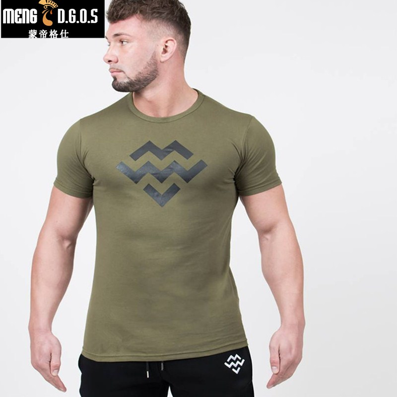 2018 summer Mens cotton t shirt gyms Fitness Shirts Short Sleeve male summer fashion Casual Tees Tops clothing