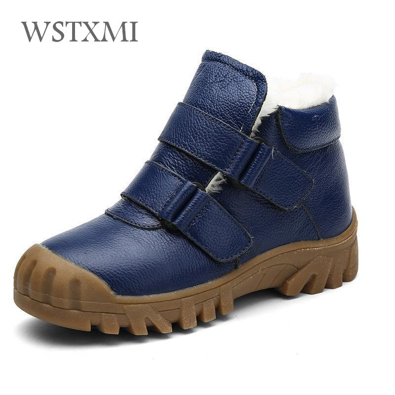 Winter Children Ankle Boots for Boys Genuine Leather Martin Boots Waterproof Kids Fur Snow Shoes Plus Warm Boys Rubber Boots New все цены